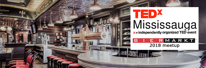 Header image of the TEDx Logo and BierMarkt Logo overlayed over a photograph of the event location.