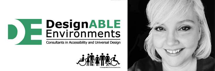 Showing text of DesignABLE Environments with the Designable Alternative People Logo and a photo of Thea Kurdi