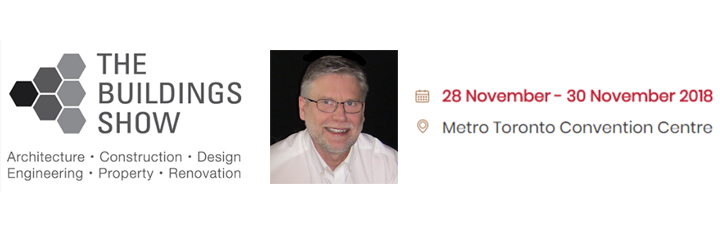 Header image of the The Buildings Show logo dated for 28 November to 30 November 2018 located at the Metro Convention Centre. A photo of Bob Topping is also shown.