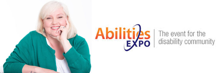 Thea Kurdi with Logo of Abilities Expo with tagline, The event for the disability community