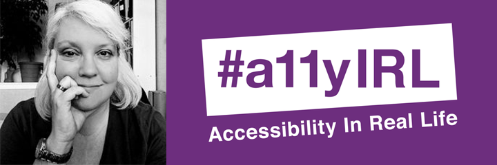 Thea Kurdi with the text hashtag, A-eleven-Y-I-R-L, Accessibility In Real Life